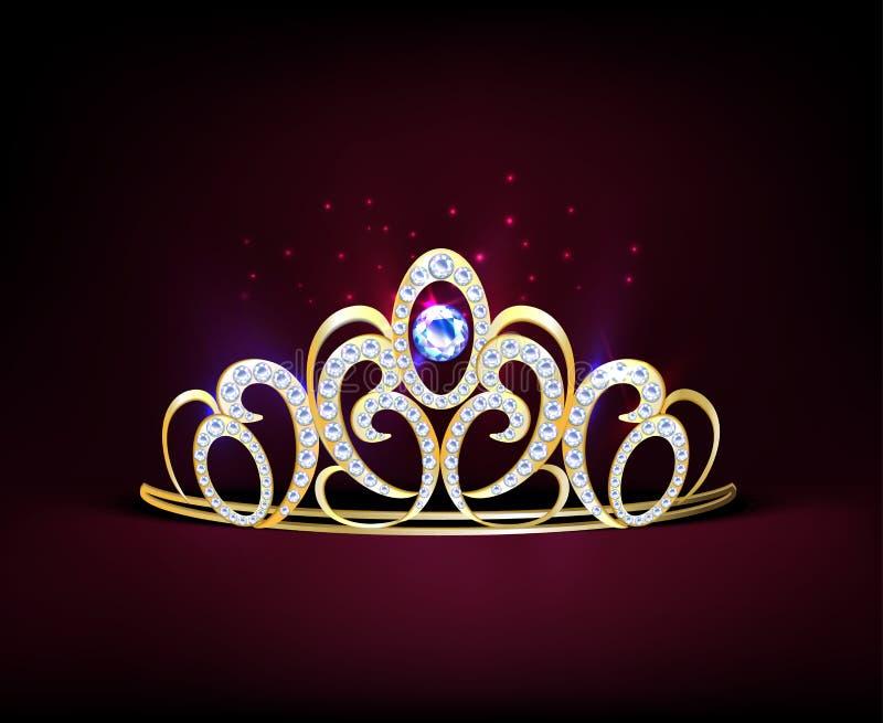Composição realística dourada do diadema ilustração royalty free