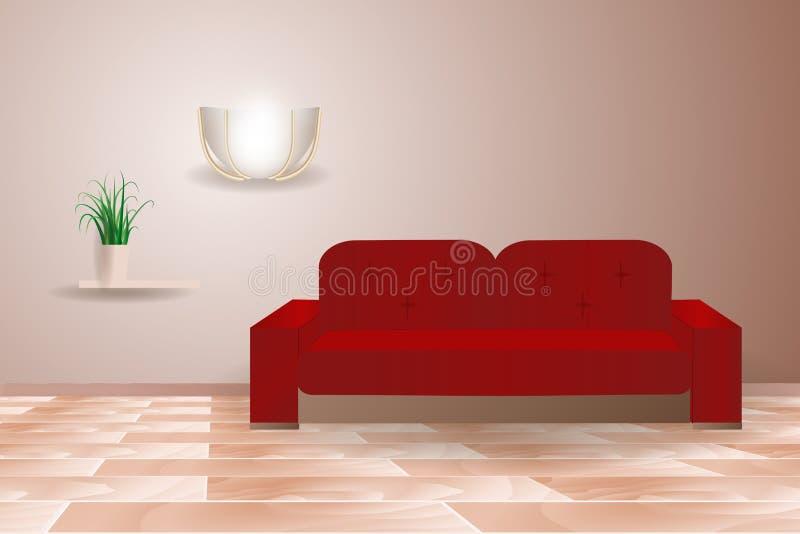 Composição realística interior com as lâmpadas de suspensão do sofá vermelho, ilustração da mobília da sala de visitas ilustração stock