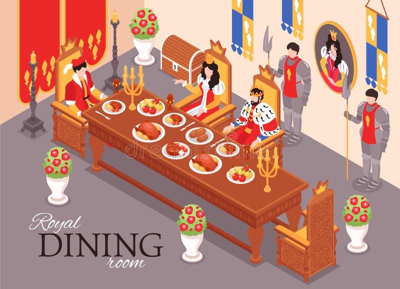 Composição real da sala de jantar ilustração stock