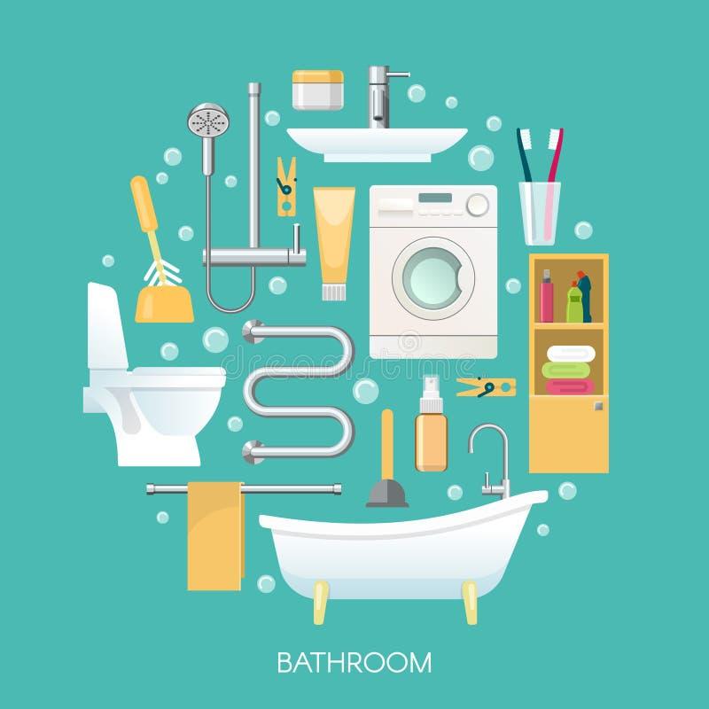 Composição redonda do banheiro ilustração royalty free