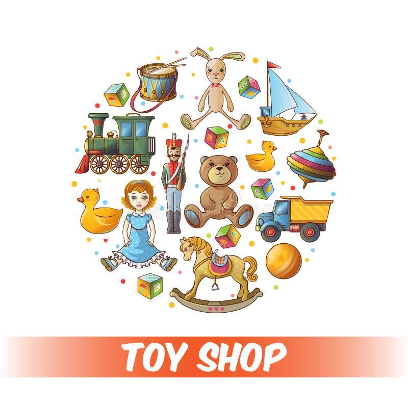 Composição redonda dos brinquedos das crianças ilustração royalty free