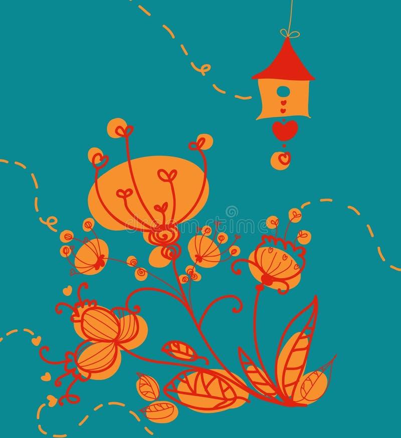 Composição retro das flores ilustração do vetor