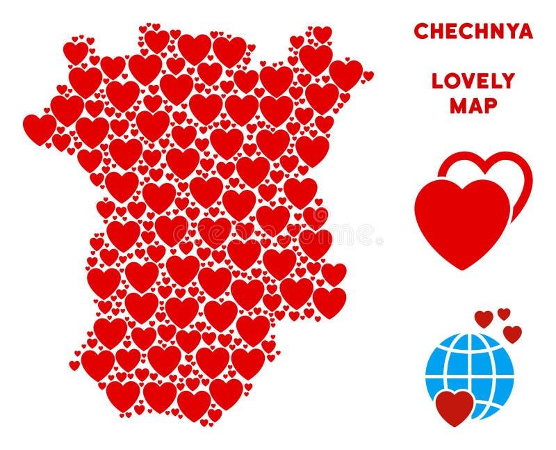 Composição romântica do mapa de Chechnya do vetor dos corações ilustração do vetor