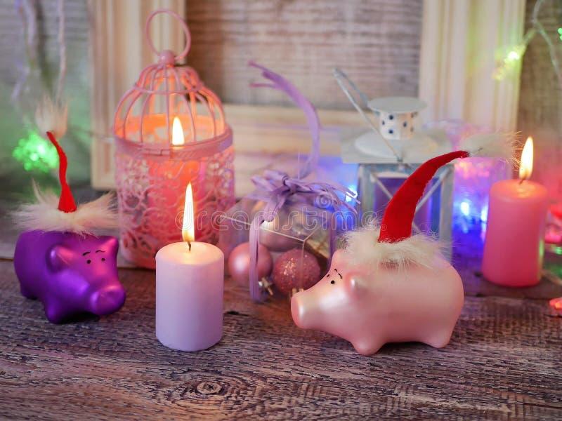Composição sazonal decorativa de leitão do ano novo do brinquedo em chapéus vermelhos de Santa, iluminação festiva, iluminada vel fotos de stock