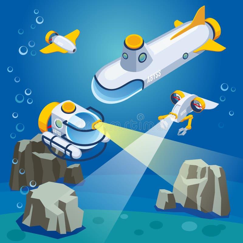 Composição subaquática dos veículos ilustração do vetor