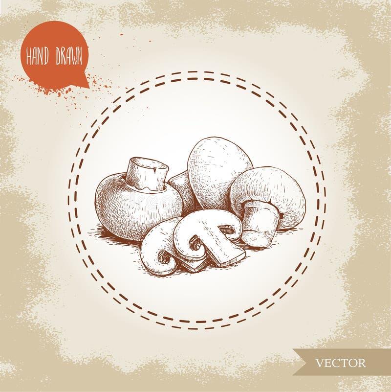 Composição tirada mão do cogumelo do cogumelo do estilo do esboço Cortes do todo e da fatia Alimentos frescos da exploração agríc ilustração royalty free