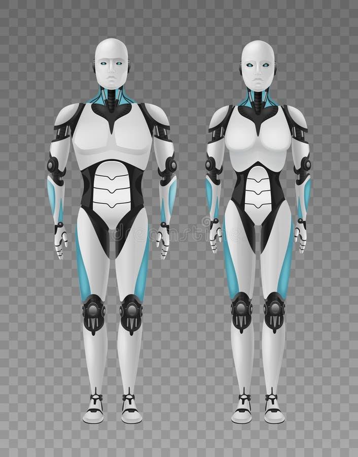 Composição transparente dos robôs realísticos ilustração do vetor