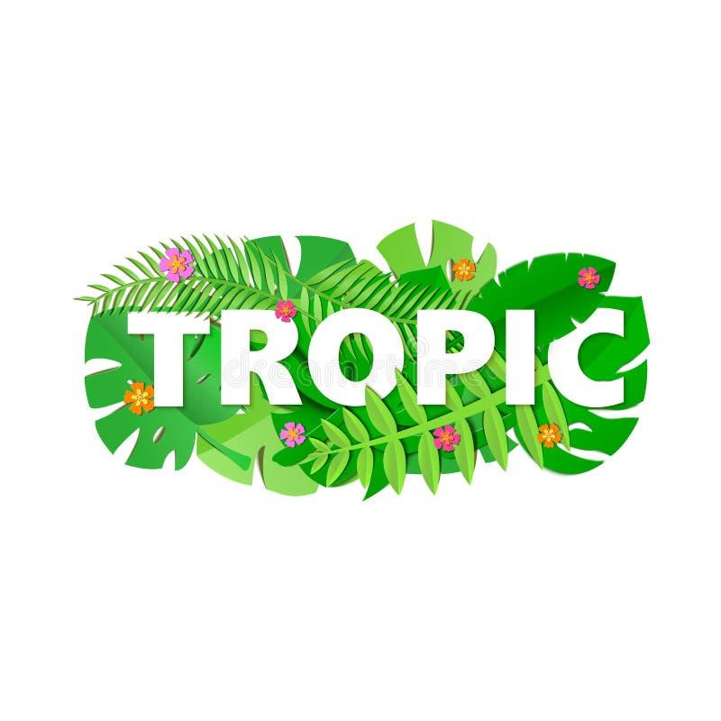 A composição TROPICA da palavra com selva verde sae e floresce no fundo branco no estilo do corte do papel Folha tropical do ofíc ilustração royalty free