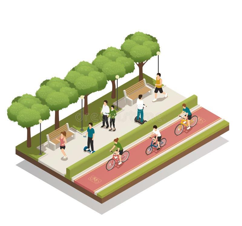 Composição urbana com transporte de Eco ilustração royalty free