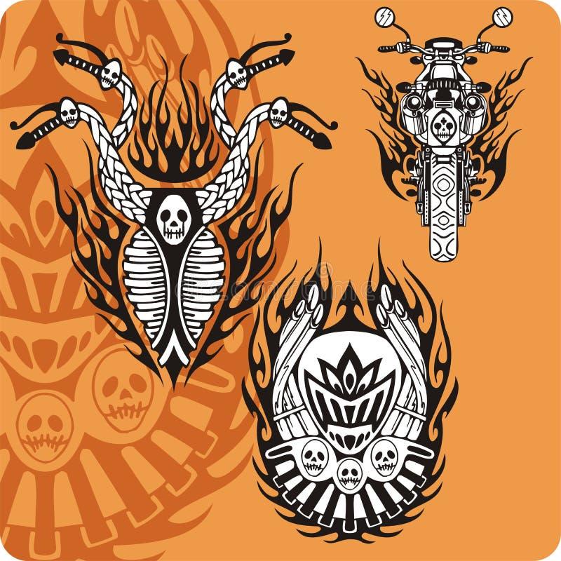 Composições da motocicleta - jogo 11 ilustração do vetor