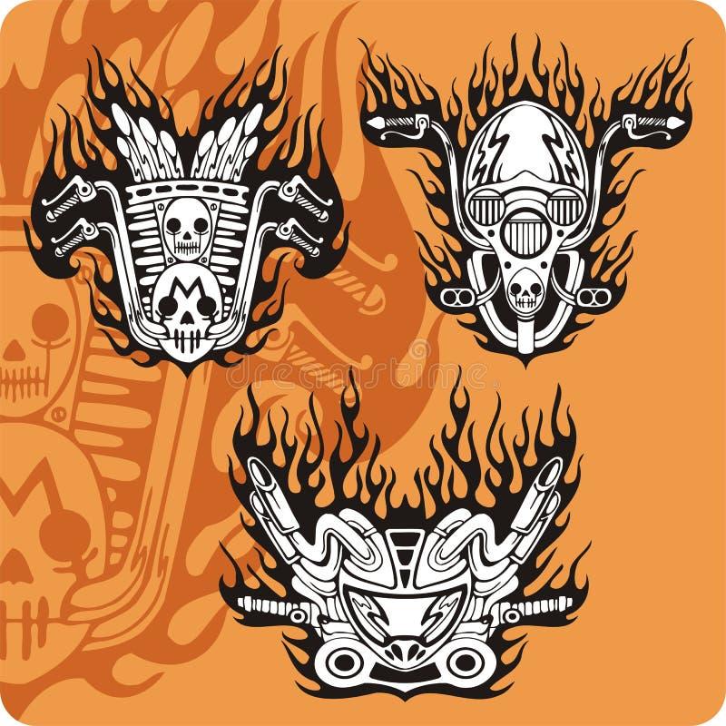 Composições da motocicleta - jogo 13 ilustração do vetor