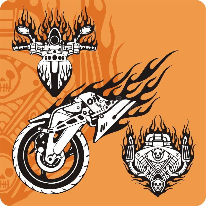 Composições da motocicleta - jogo 6 ilustração do vetor