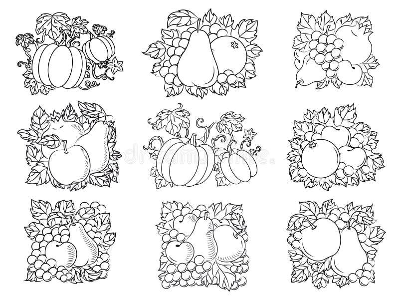 Composições das frutas e legumes no esboço retro ilustração royalty free