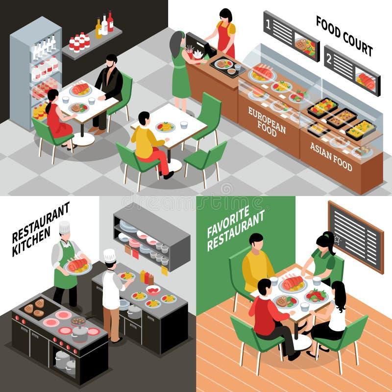 Composições interiores do restaurante ajustadas ilustração royalty free