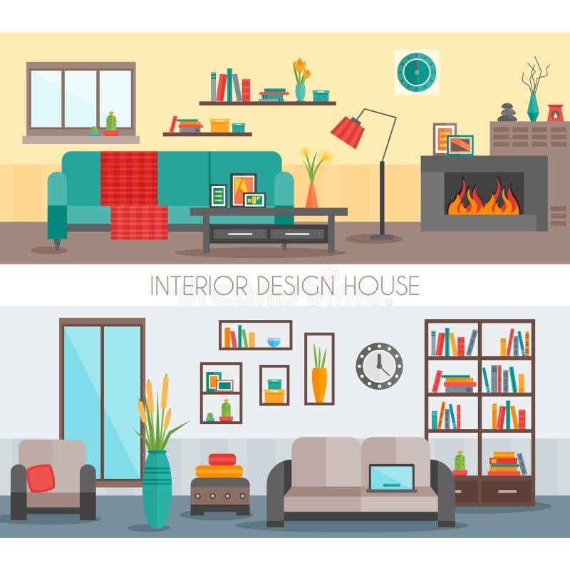 Composições interiores lisas ilustração do vetor