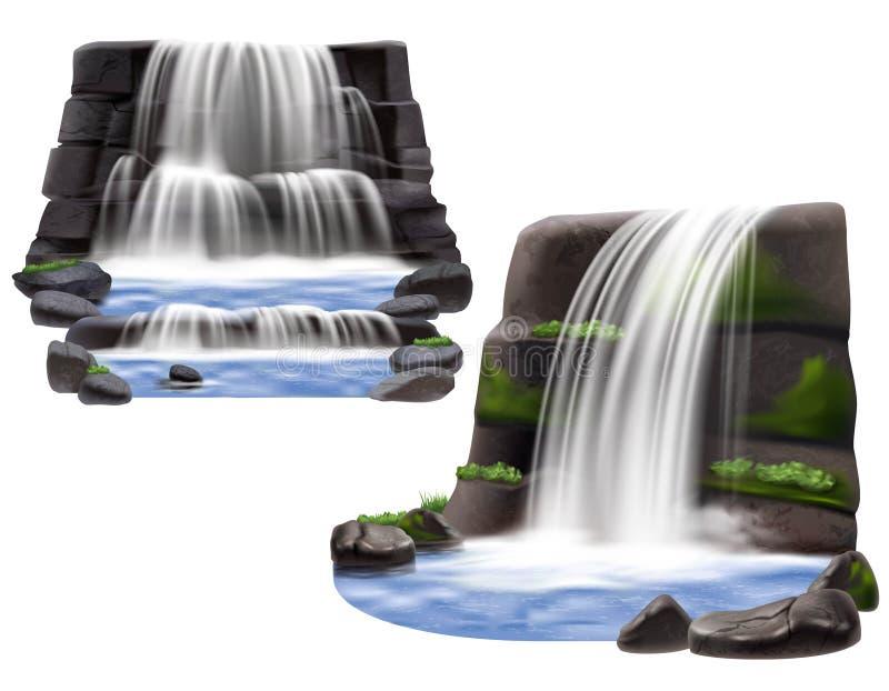 Composições realísticas das cachoeiras ilustração royalty free