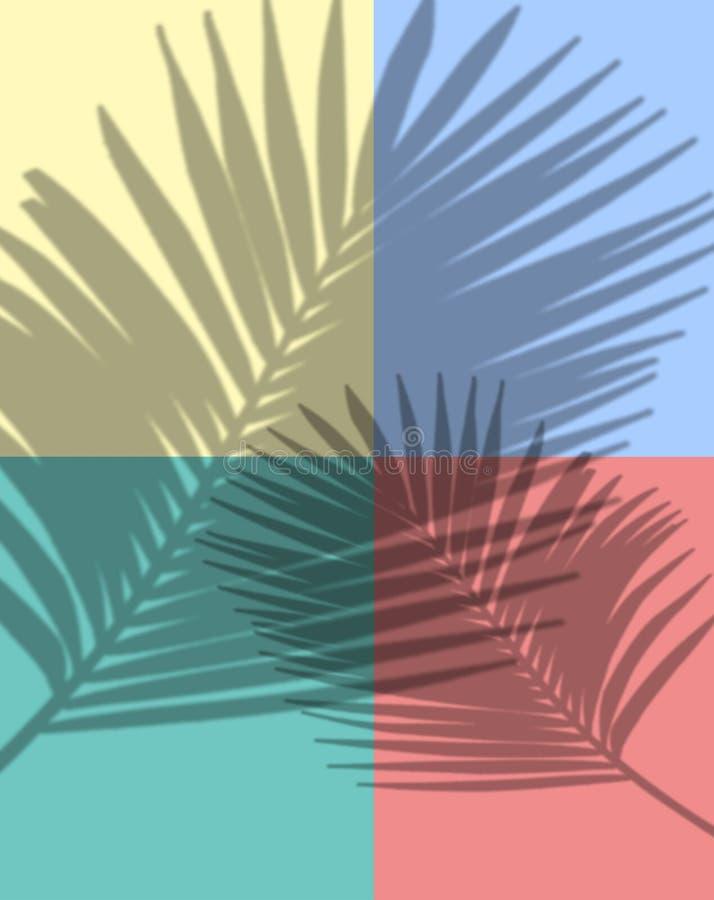 Composi??o do ver?o Folhas de palmeira tropicais no fundo amarelo ver?o ilustração do vetor
