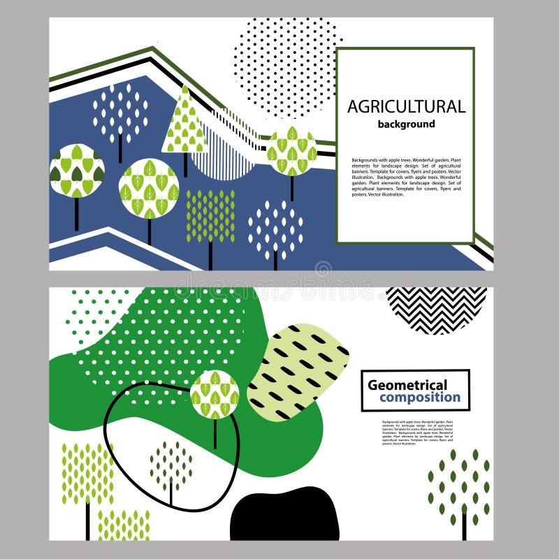 composi??o geom?trica Elementos da planta para o projeto da paisagem Bandeira horizontal ilustração royalty free