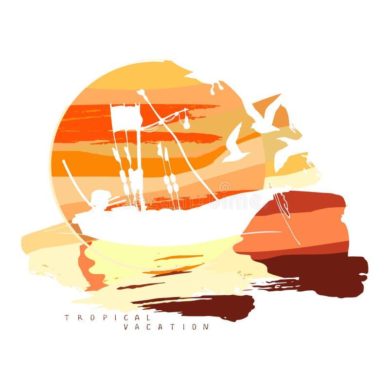 Composición abstracta con la silueta de un barco de pesca contra la perspectiva de un sol grande con las nubes libre illustration