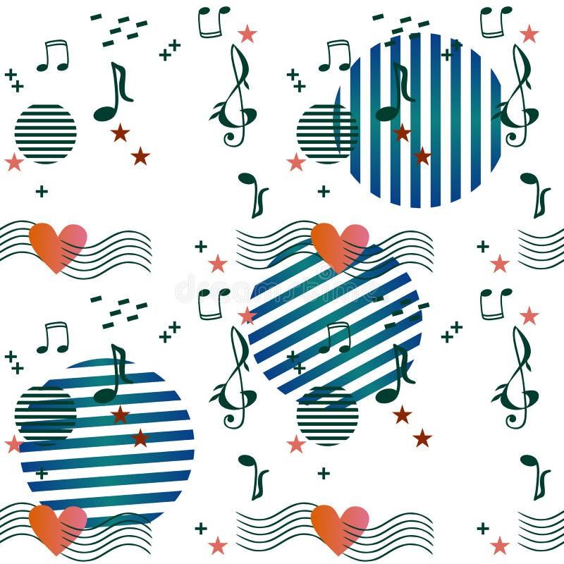 Composición abstracta con las reglas musicales que pasan a través del corazón, las notas y las muestras de la música, las estrell stock de ilustración