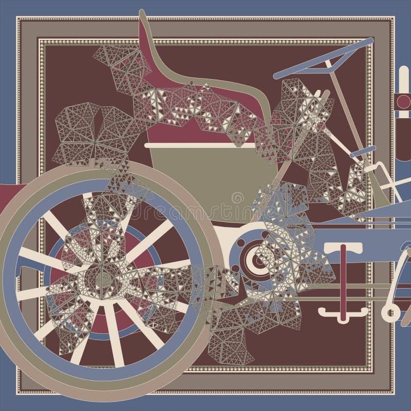 Composición abstracta con los viejos detailes 2 del coche libre illustration