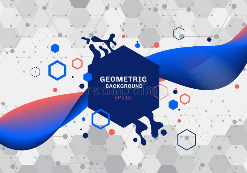 Composición abstracta de formas geométricas y salpicar la molécula azul y anaranjada del modelo de los hexágonos con fluir flúido ilustración del vector