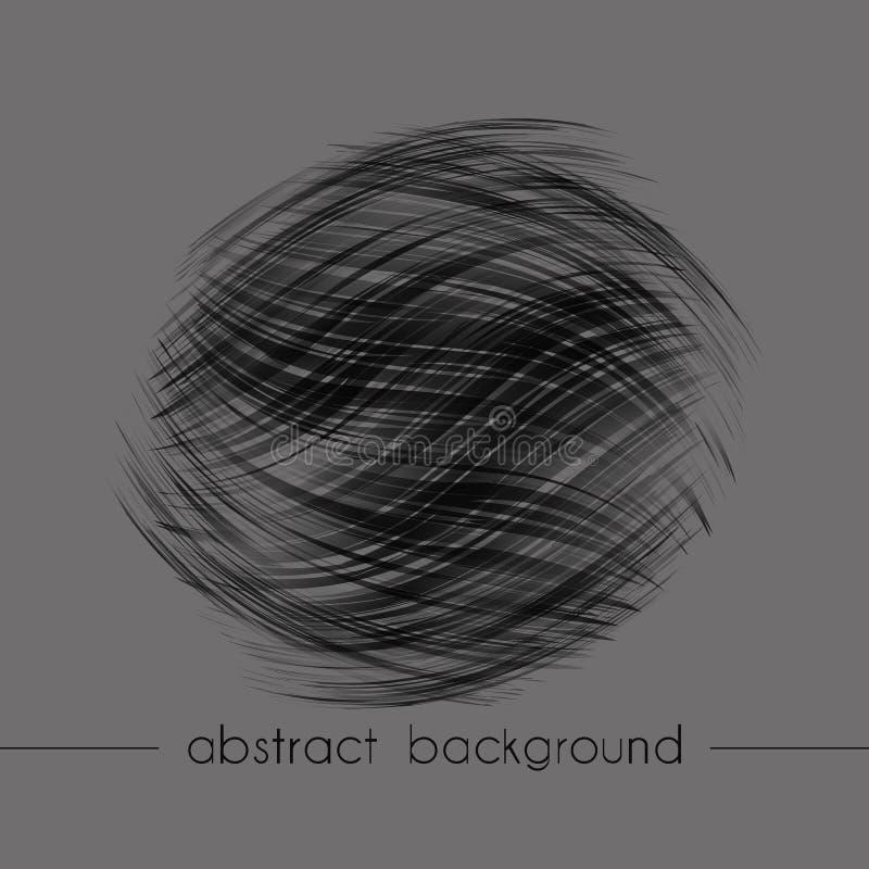 Composición abstracta de la forma redonda Fondo de diversas líneas onduladas Modelo negro en un fondo gris, ejemplo del vector ilustración del vector