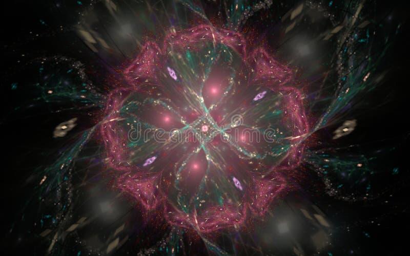 Composición abstracta de una flor roja con un verde que brilla intensamente medio con una falta de definición en un fondo negro c stock de ilustración