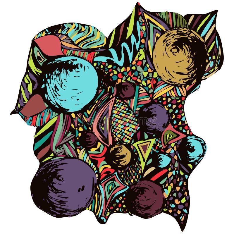Composición abstracta del garabato Ornamento brillante, multicolor, dibujo de una variedad de elementos decorativos, adorno de la libre illustration