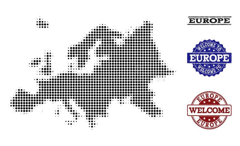 Composición agradable del mapa de semitono de los sellos de Europa y de la desolación stock de ilustración