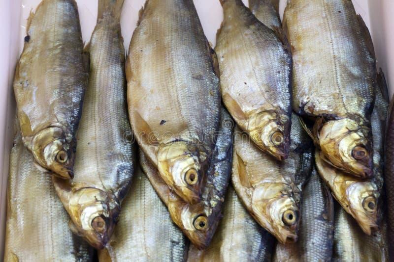 Composición ahumada de la estructura de pescados secados y ahumados imagenes de archivo