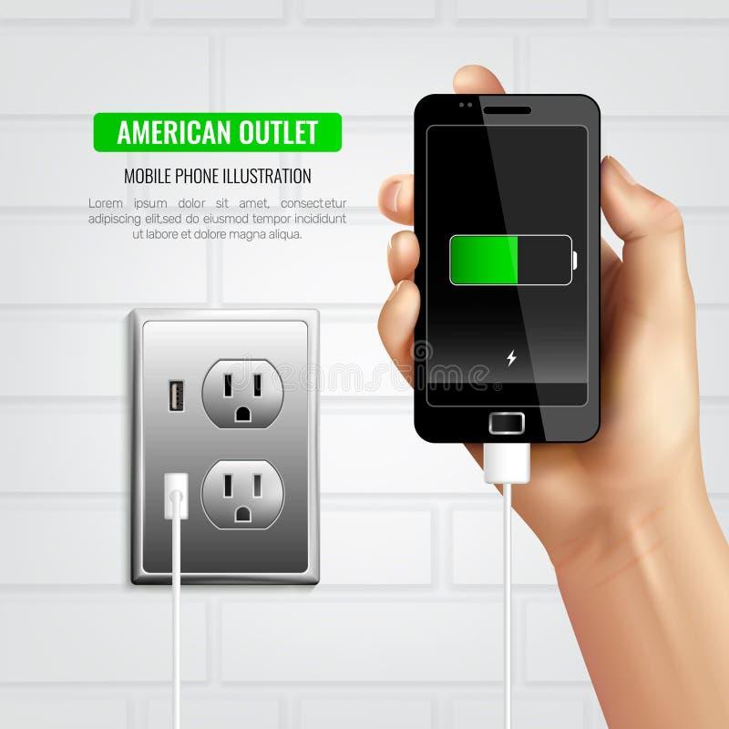 Composición americana del teléfono móvil del mercado ilustración del vector