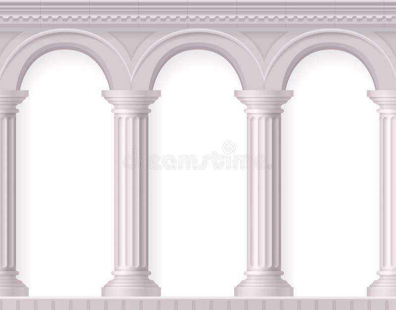 Composición blanca antigua realista de las columnas libre illustration