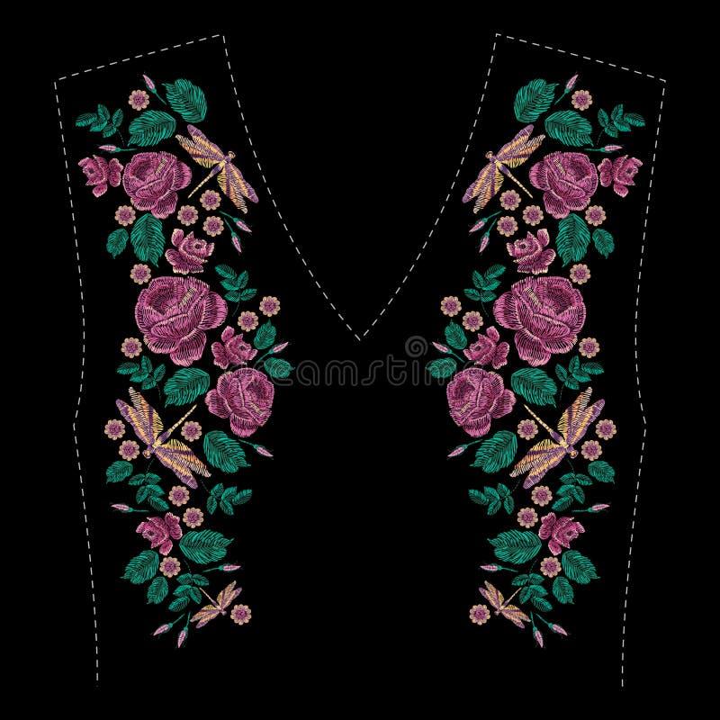 Composición bordada con las rosas, los wildflowers, las hojas y la libélula Diseño floral del bordado de la puntada de satén en n stock de ilustración