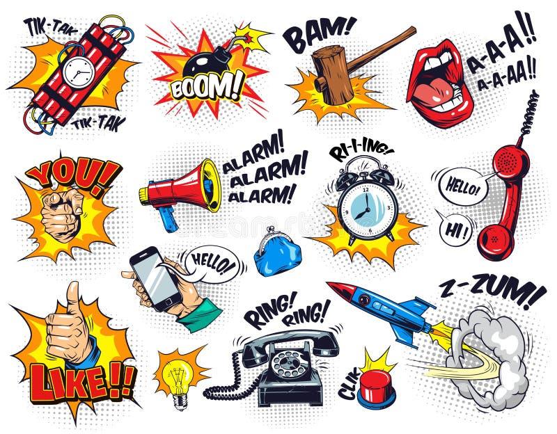 Composición brillante cómica de los elementos ilustración del vector