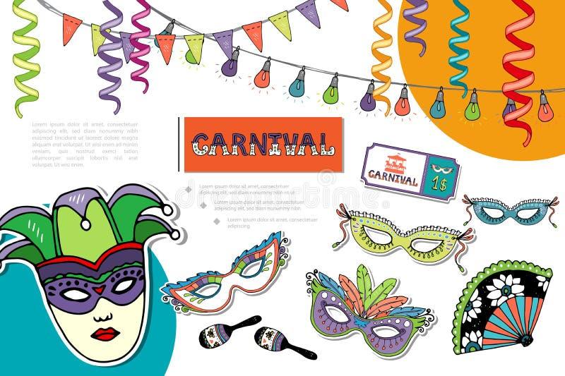 Composición brillante del carnaval plano libre illustration