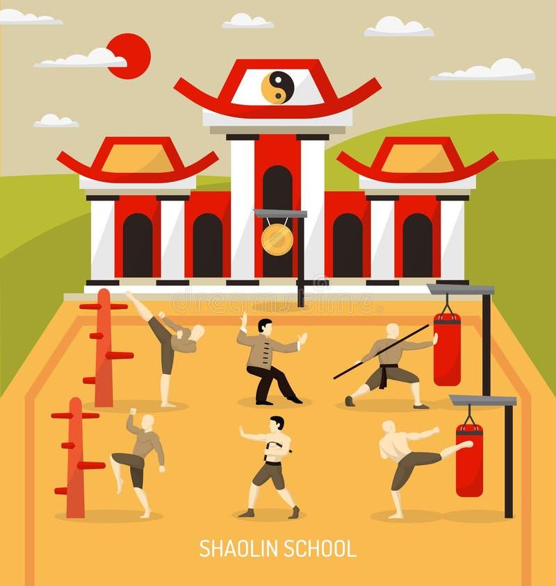 Composición china de los artes marciales del templo stock de ilustración