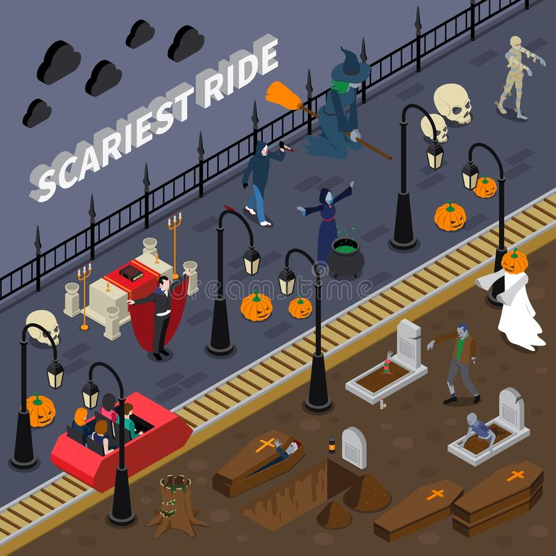 Composición coloreada Halloween del monstruo libre illustration