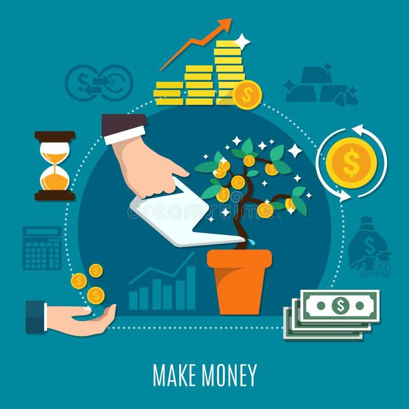 Composición coloreada plano del dinero stock de ilustración