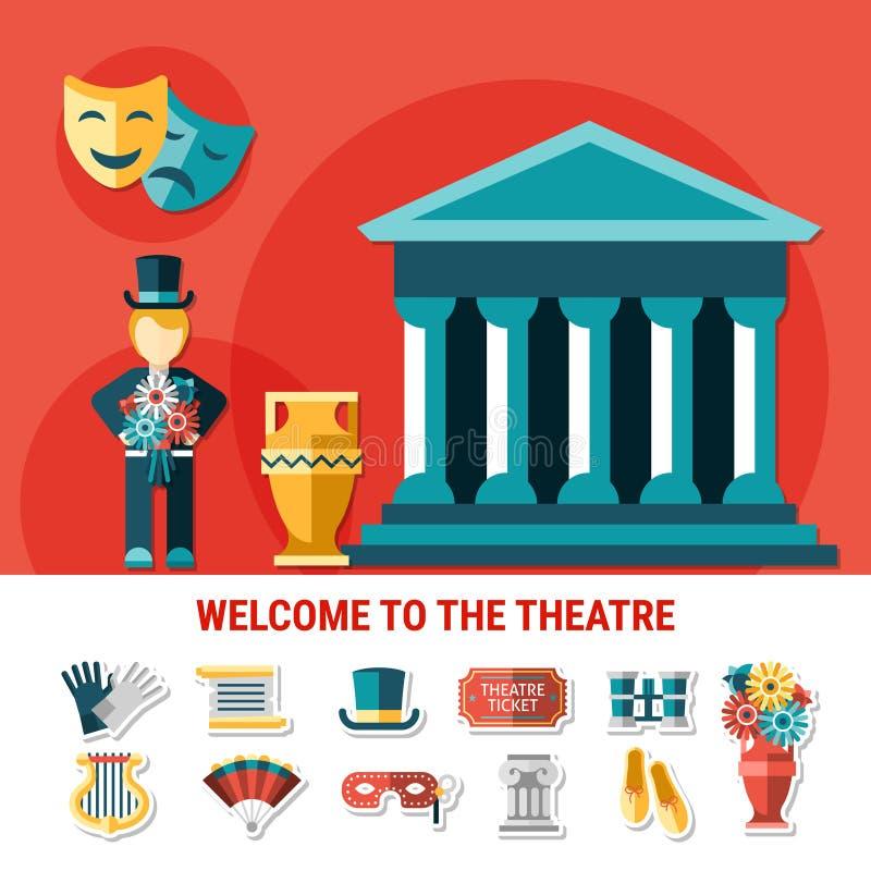 Composición coloreada plano del teatro libre illustration