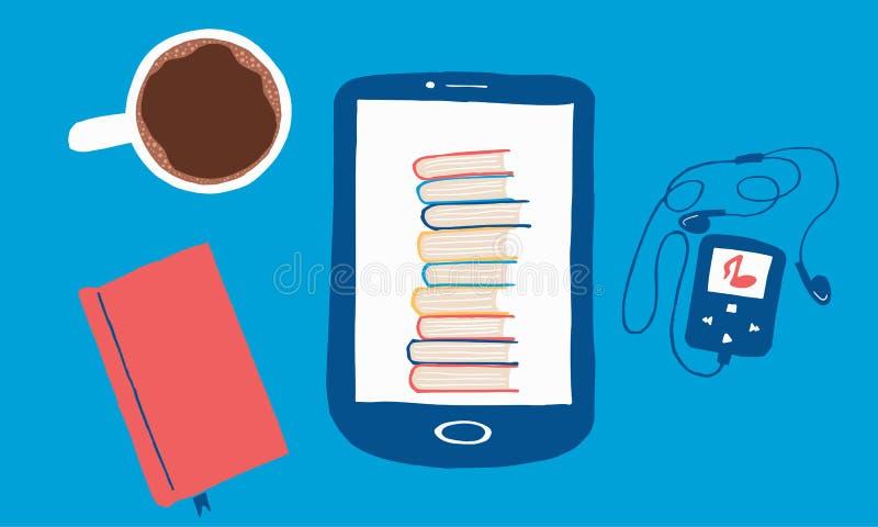 Composición colorida de la tableta, del jugador de música, del cuaderno y de la taza de café fotos de archivo libres de regalías