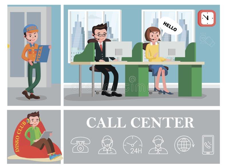 Composición colorida del centro de atención telefónica ilustración del vector