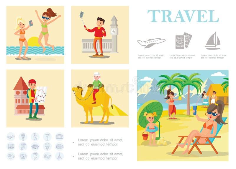 Composición colorida del viaje plano libre illustration