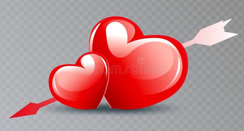 Composición con dos brillantes corazones rojos con una flecha, un componente de diseño stock de ilustración