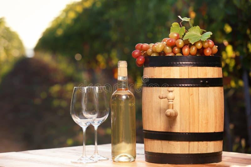 Composición con el vino y las uvas maduras en la tabla al aire libre imagenes de archivo