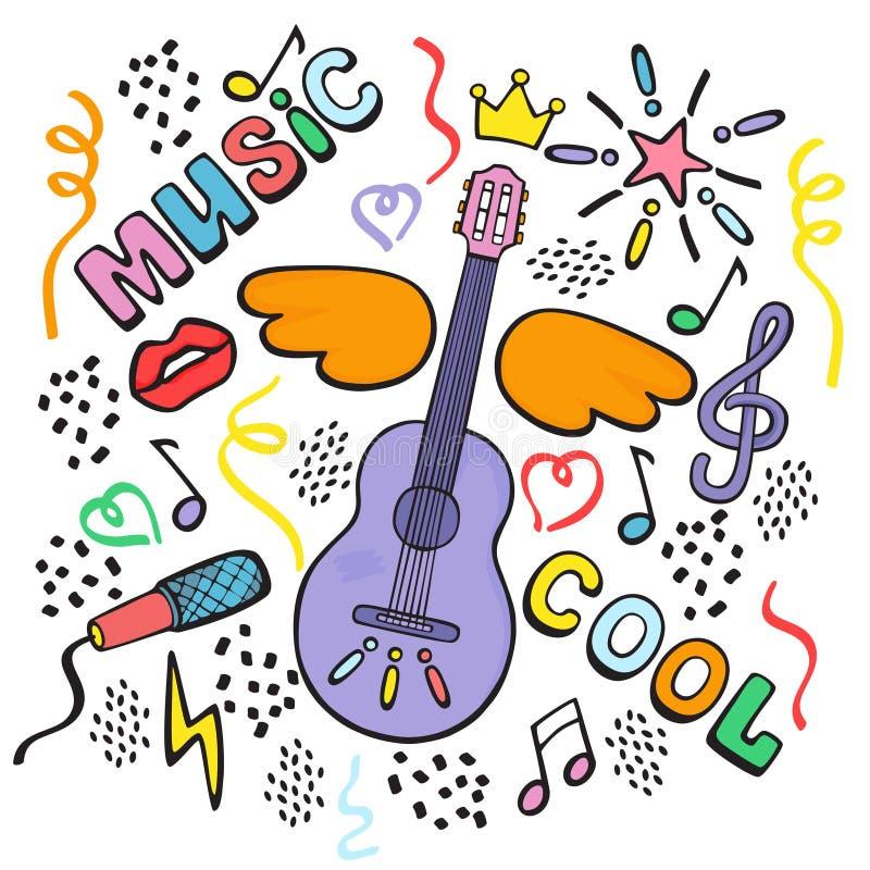 Composición con la guitarra, las alas y las muestras musicales Gr?fico de la mano El garabatear del vector del color stock de ilustración