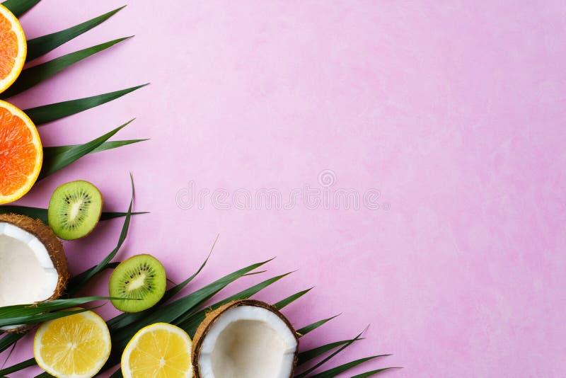 Composición con las frutas exóticas, vacaciones del verano fotos de archivo