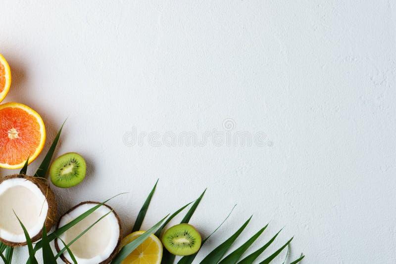 Composición con las frutas tropicales, vacaciones del verano foto de archivo libre de regalías