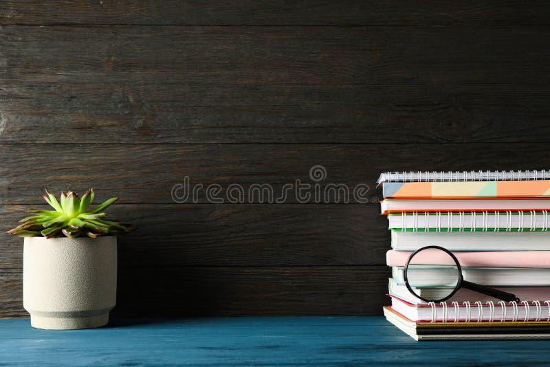 Composición con los cuadernos, suculento y lupa en la tabla de madera imagenes de archivo