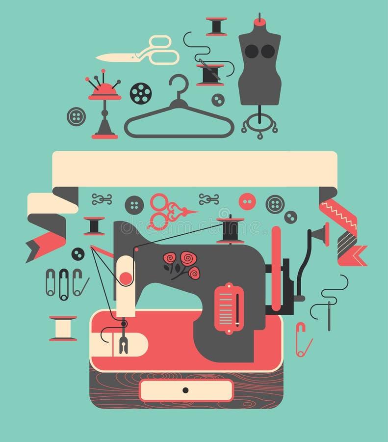 Composición con símbolos de costura libre illustration